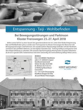 Keep Moving Switzerland | Taiji-Therapie im Kloster Frenswegen 2018